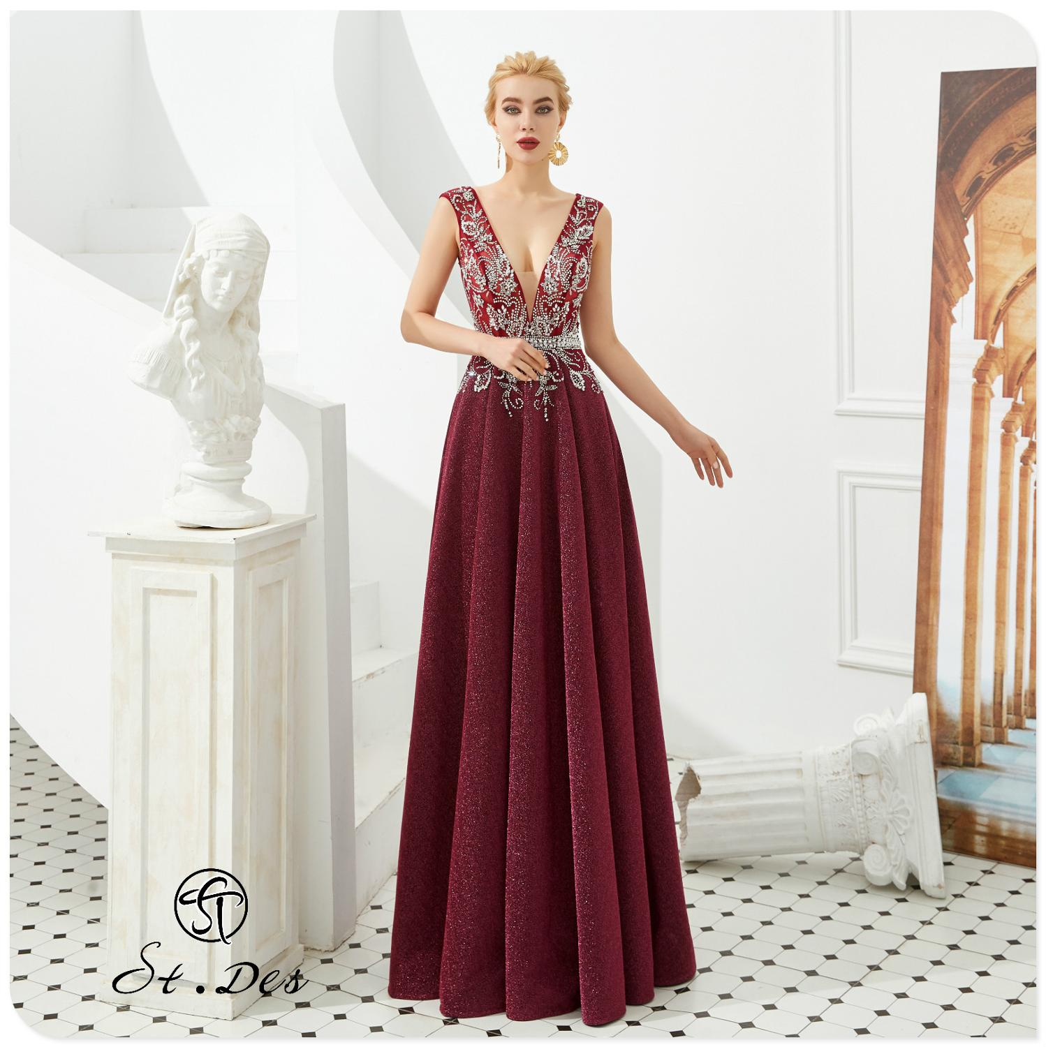 NEW 2020 St.De0s A-line V-Neck Wine Flower Beading Sleeveless Designer Floor Length Evening Dress Party Dress