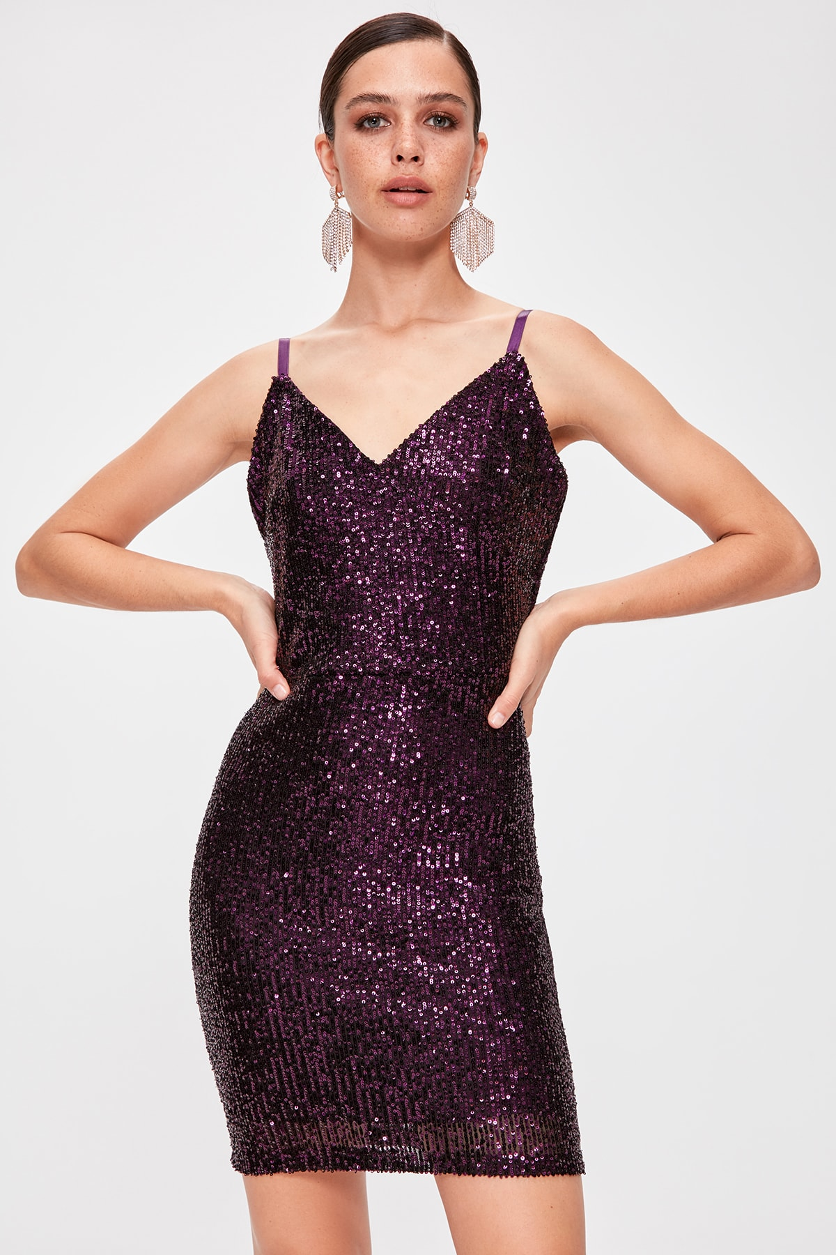 Trendyol Sequined Double Breasted Dress TPRAW20EL1830