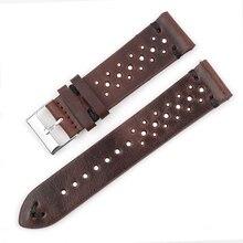 Onthelevel bracelet en cuir poreux bracelet de montre 19mm 20mm 22mm bracelets de montre respirant bracelet de montre avec barres à dégagement rapide # D