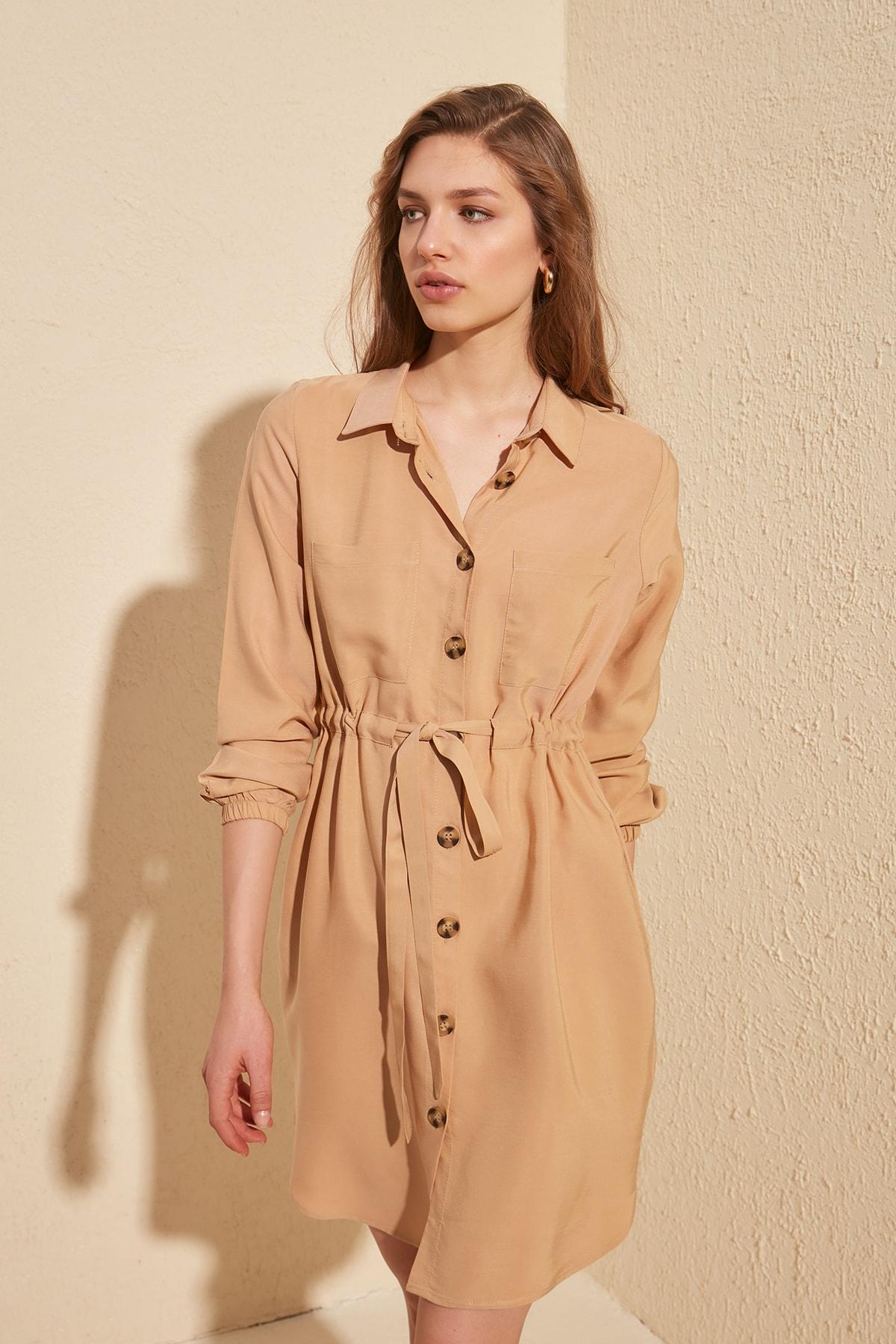 Trendyol Belted Shirt Dress TWOSS20EL1089