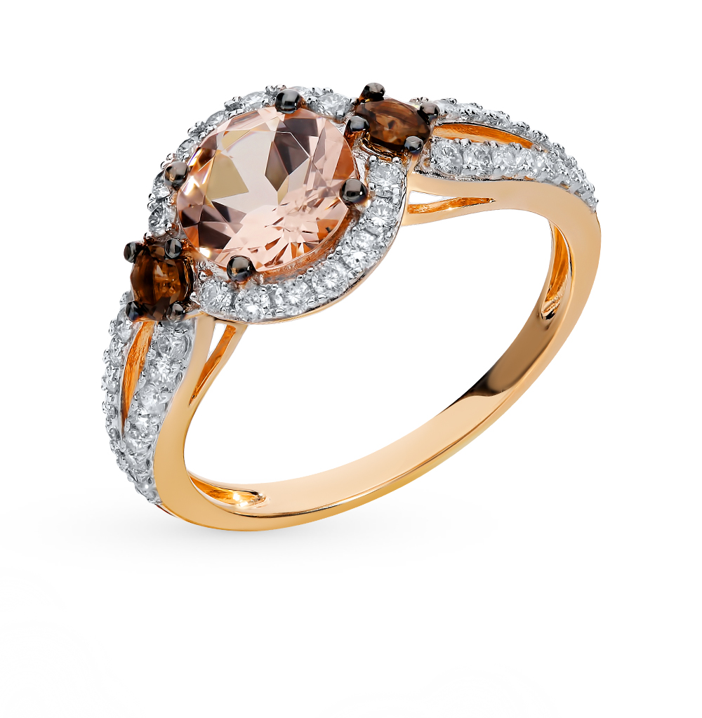 Gold Ring With Cognac Diamond Marcasite SUNLIGHT Test 585