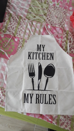 Kitchen Linen Cooking Words Apron photo review