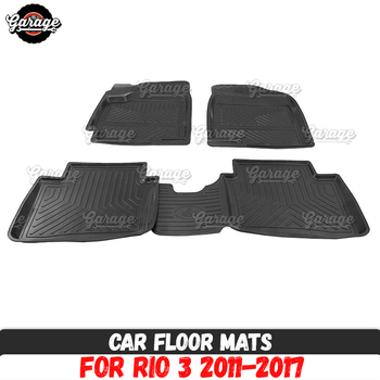 Car floor mats for Kia Rio 3 2011-2017 rubber 1 set / 4 pcs or 2 pcs accessories protect of carpet car styling decoration image
