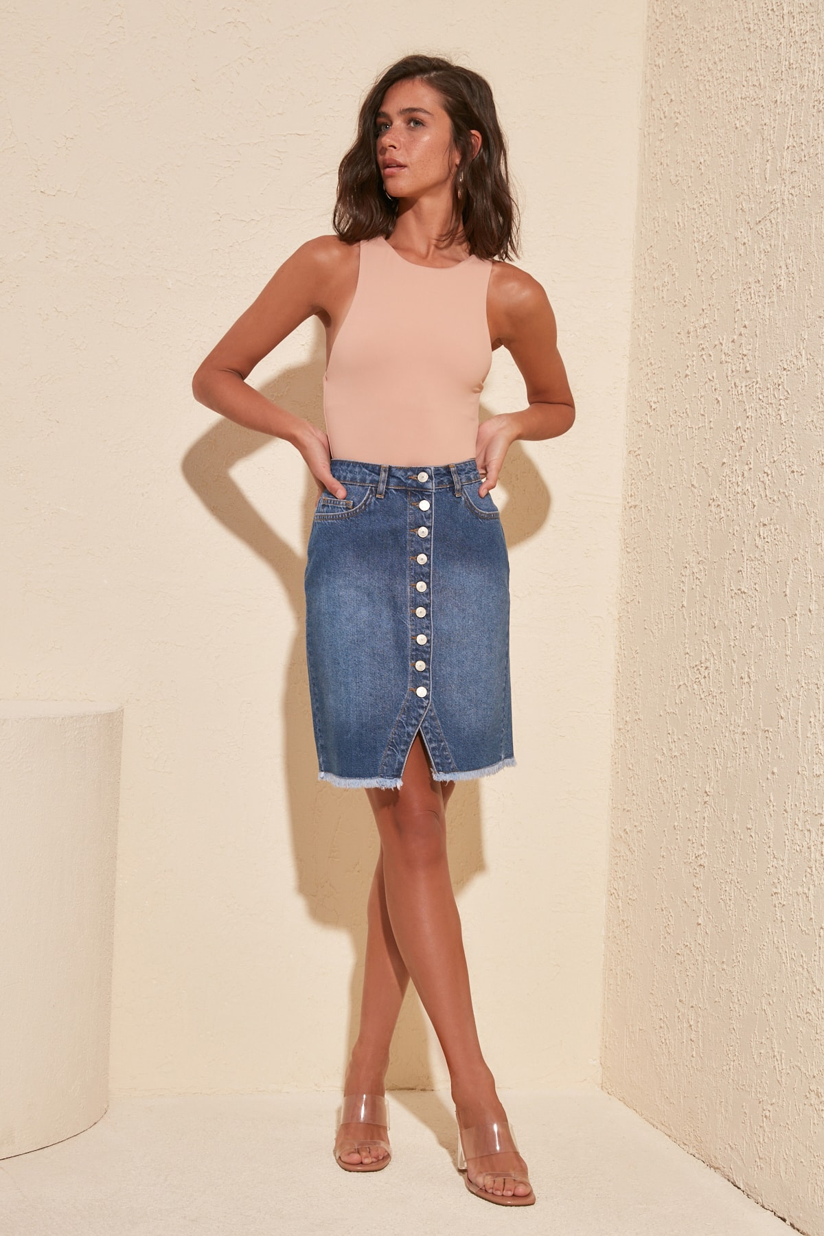 Trendyol Button Detailed Denim Skirt TWOSS20ET0362