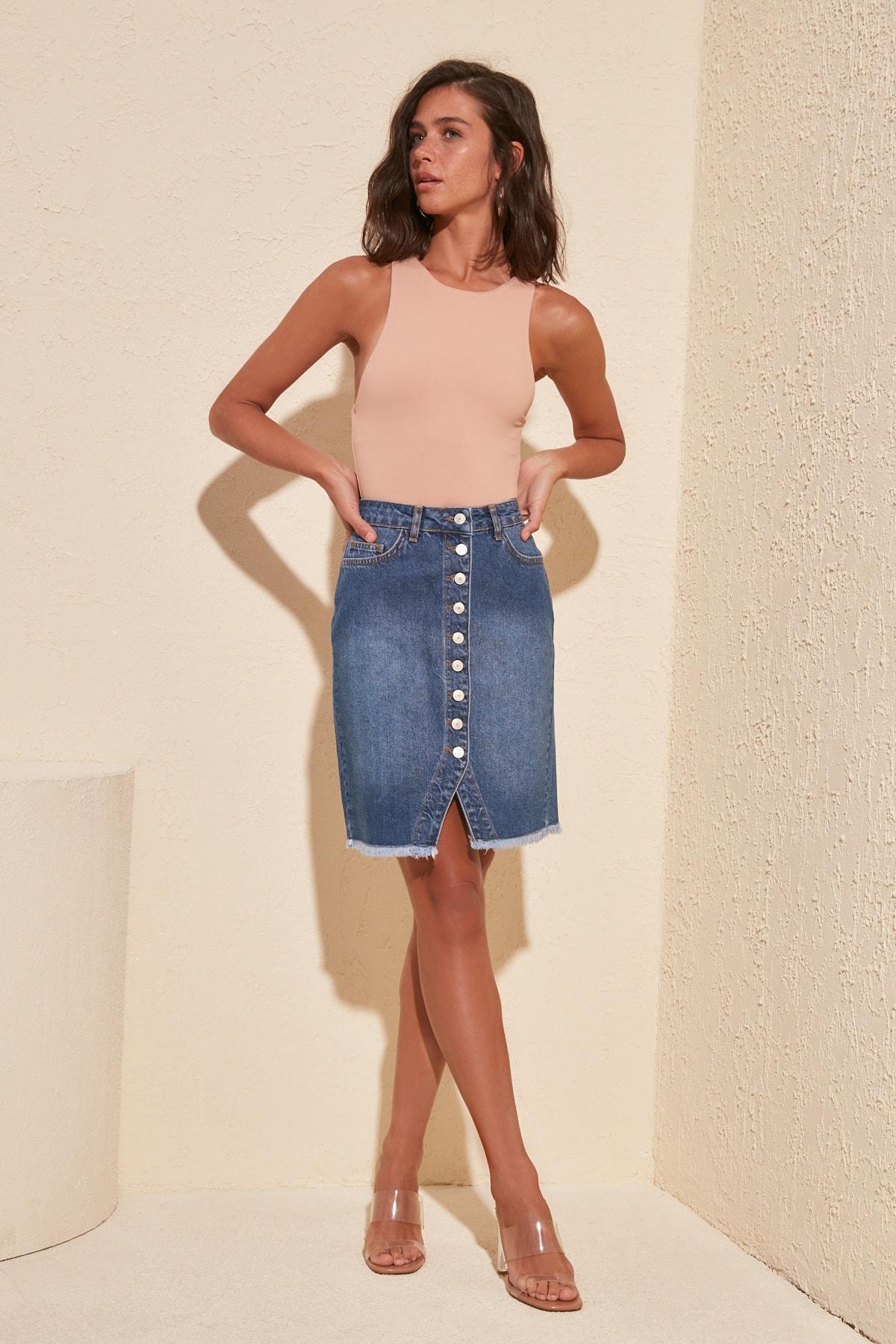 Trendyol Button Detailed Denim Skirt TWOSS20ET0362