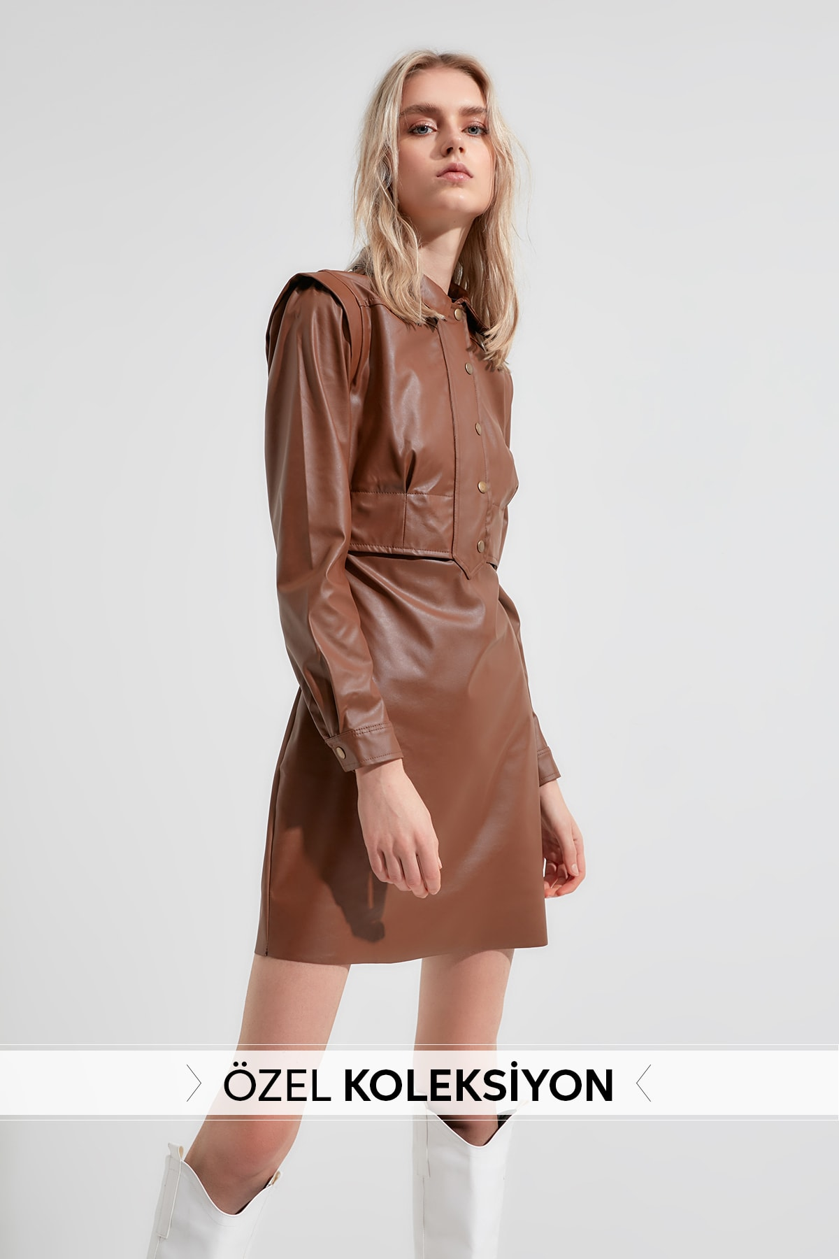 Trendyol Leather Look Dress TWOAW20EL2136