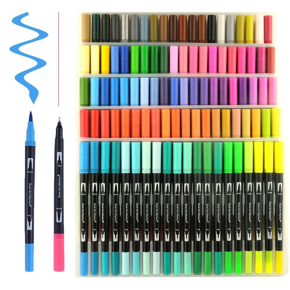 Watercolor Brush Markers Pen Set 12 24 36 48 <font><b>60</b></font> <font><b>100</b></font> 120 Colors Dual Brush Pen Fineliner Art Marker calligraphy for Drawing image