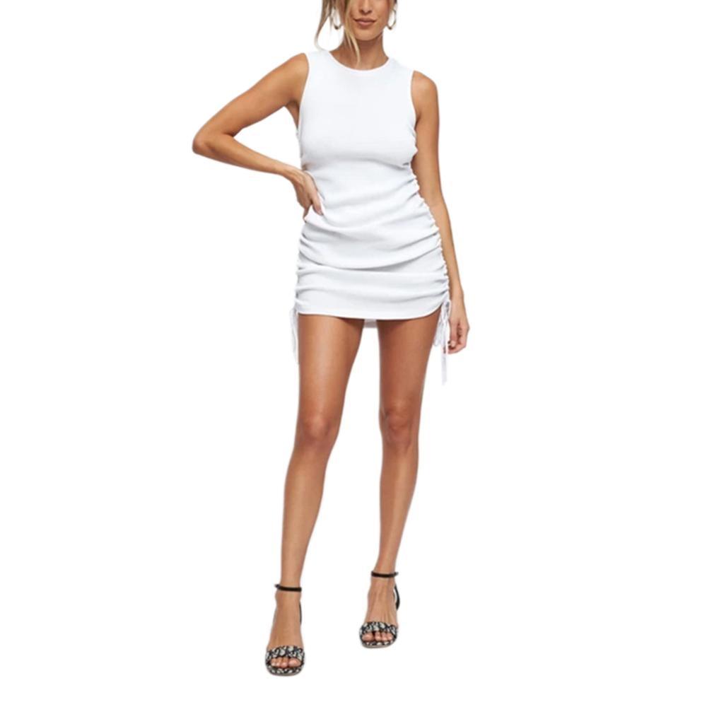 Women Elegant Short Sleeve Drawstring Dresses Cotton Ruched Drawstring Sexy Party Dress Tie Dye Skinny Elegant Dress Summer 2020 19