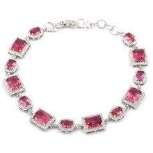 12x10mm Romantic Created Pink Tourmaline White CZ Ladies Engagement Silver Bracelet 8.5-9.5inch