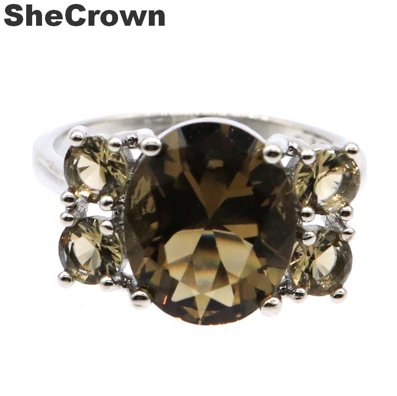 18x12mm 2019 New Arrival Created Smokey Topaz Gfit For Woman's Silver Rings
