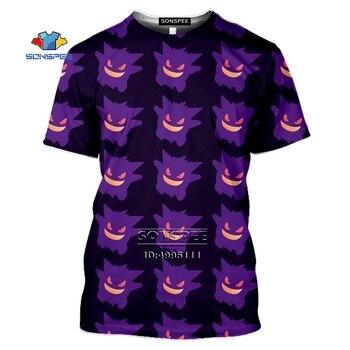 Gengar Men's T-shirt 3D Print Anime Aesthetic Gothic Pokemon Tshirt Women Casual Summer Harajuku Shirt Hip Hop Oversized Tee Top 2