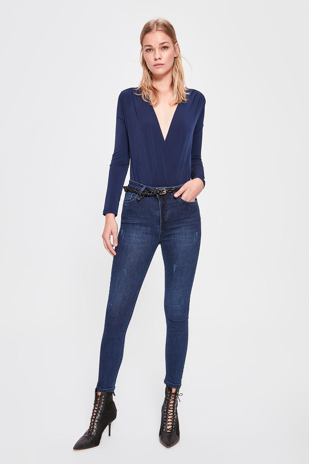 Trendyol Yıpratmalı High Waist Skinny Jeans TWOAW20JE0255