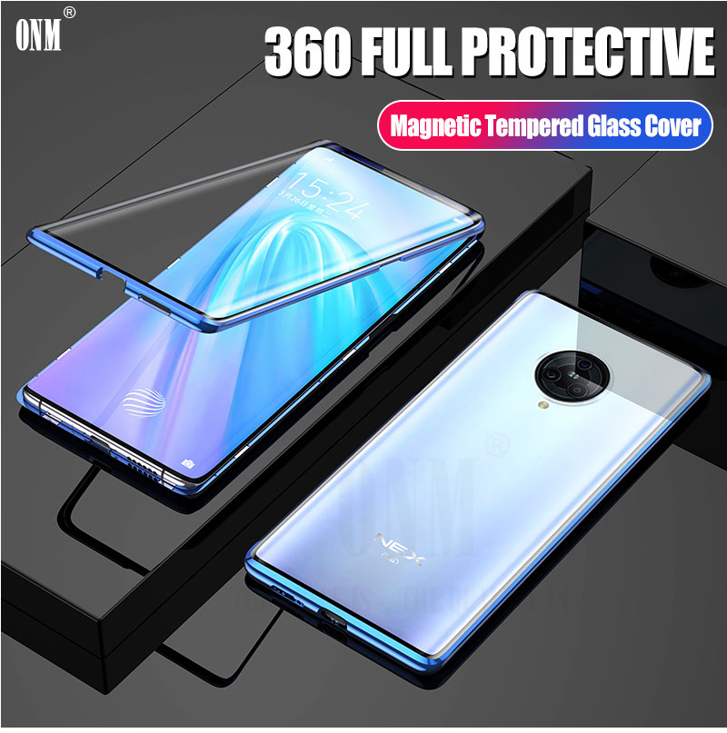 Case for VIVO NEX 3 360° Full Protection Magneto Magnetic Cases Cover for VIVO NEX 3 5G Adsorption Metal double Glass CaseFitted Cases   -