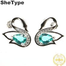 15x14mm 2019 Swan Shape Created 2.1g Rich Blue Aquamarine CZ Gift For Sister European 25 Solid Sterling Silver Stud Earrings