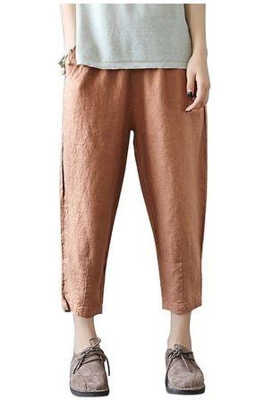 YIL554 Vintage Women Linen Pants Plus Size 2019 Summer Pant Capris Loose Thin Fabric Linen