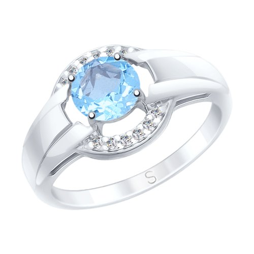 SOKOLOV Ring Of Silver With Topaz And Fianitami