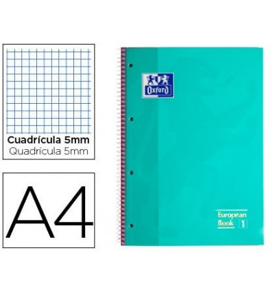 NOTEPAD SPIRAL OXFORD TOP EXTRADURA MICROPERFORATED DIN A4 80 SHEETS PICTURES 5 MM COLOR ICE MINT