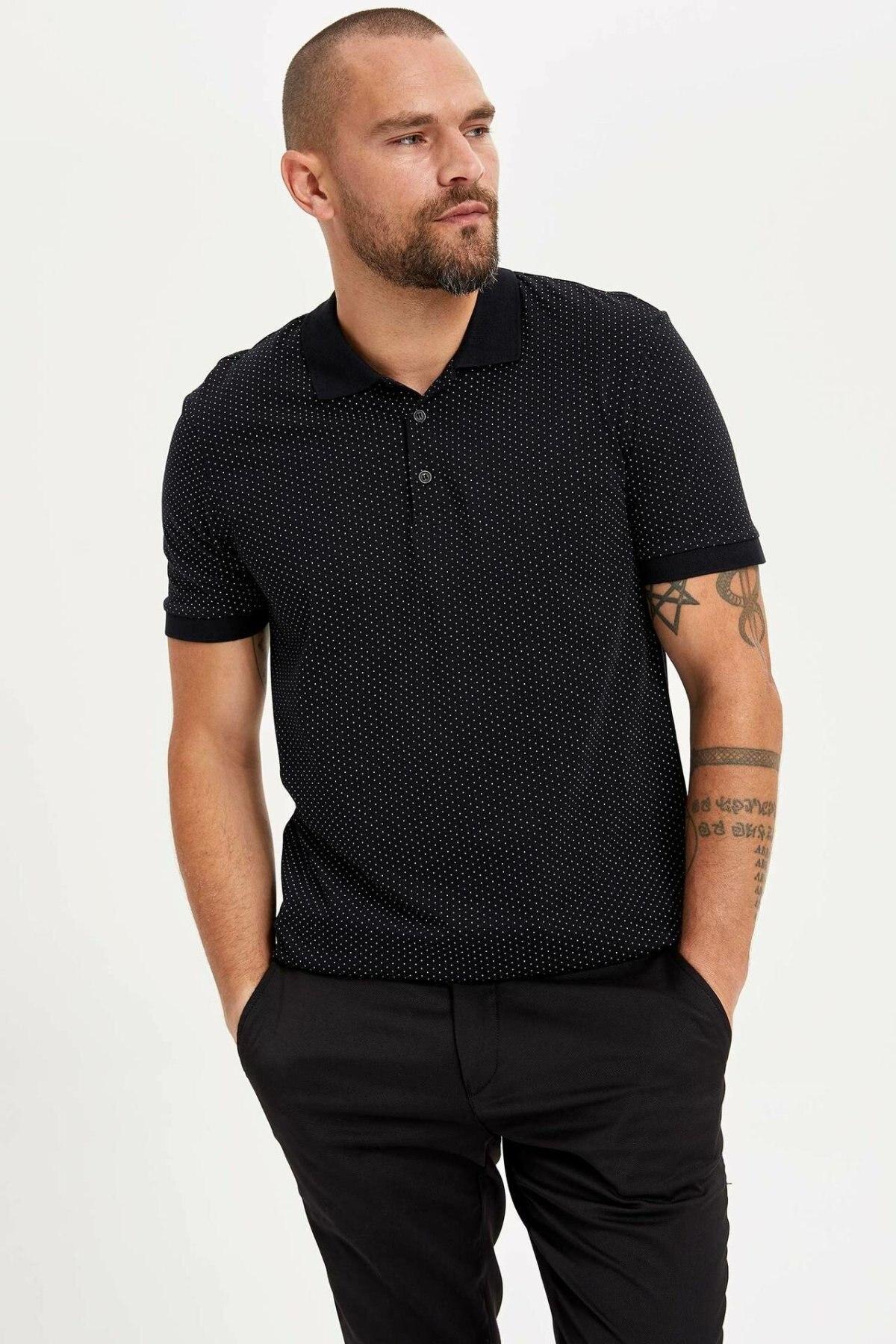 DeFacto Men Summer Solid Color Fit Cotton Top Tees Shirt Male Casual Black Pink Fashion Short Sleeve Male Shirt-L4772AZ19SM