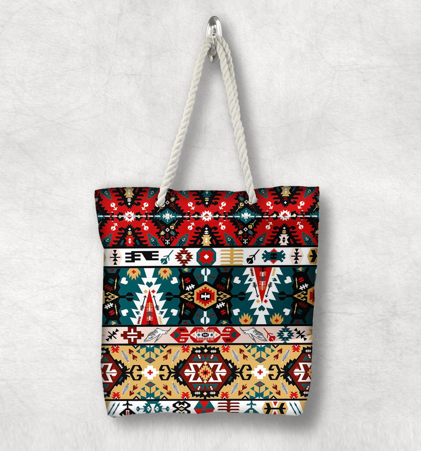 Else Red Green Aztec Bohemian Vintage New Fashion White Rope Handle Canvas Bag Cotton Canvas Zippered Tote Bag Shoulder Bag
