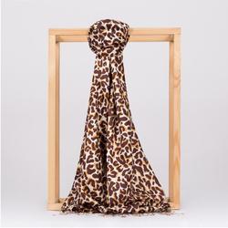 Chal de seda con estampado de leopardo marrón-bufanda-Hecho en Turquía-% 100 SEDA-moderno-clásico