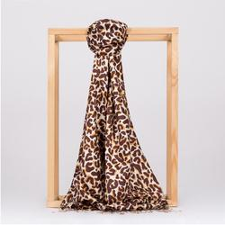 Marrone Della Stampa Del Leopardo di Seta Dello Scialle-Sciarpa-Made in Turchia-% 100 di Seta-Moderno-Classico