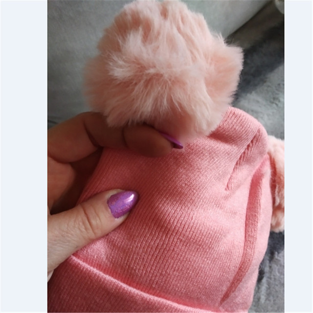 2 Pieces Newborn Baby Solid Color Plush Ball Hat And Scarf Set 3