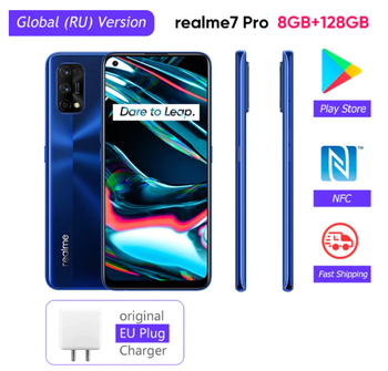 Realme 7 Pro глобальная версия смартфона 65 Вт быстрой зарядки отпечатков пальцев разблокированная полный Экран мобильный телефон Snapgragon 720 г игры...