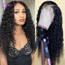 Water Wave Closure Wig Human Hair 4x4 Closure Wig Transparent Water Wave Wig 13x4 Lace Front Wig Preplucked Peruvian 30 Inch Wig