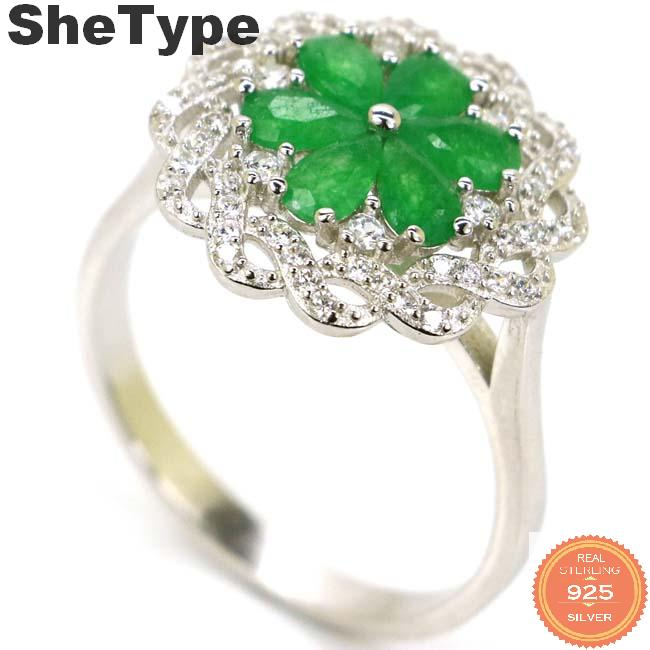 17x17mm SheType Ravishing 3.7g Real Green Emerald Natural CZ Woman's Real 925 Solid Sterling Silver Rings