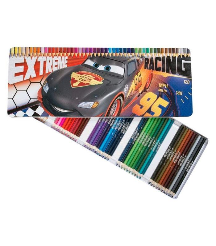 Case Tin 50 Colored Pencils Cars Toy Store