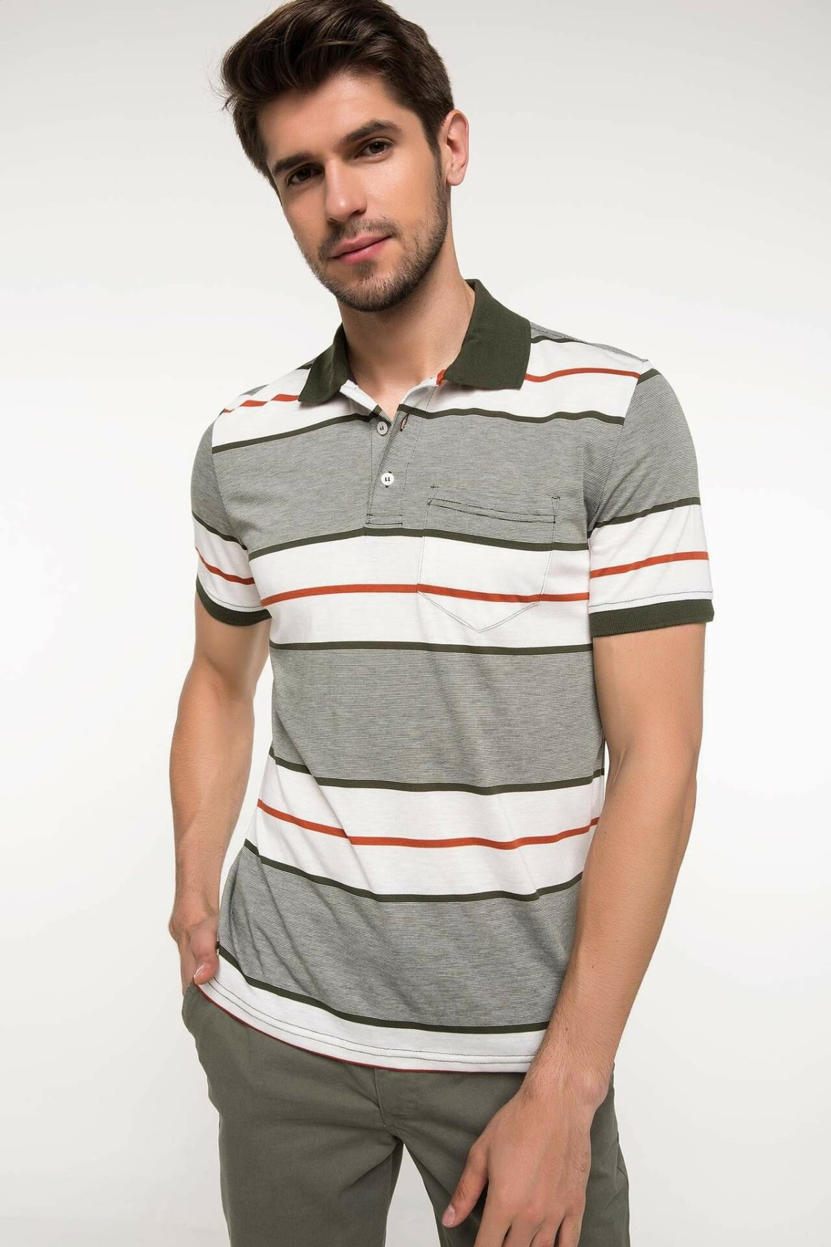 DeFacto Men Summer Polo Shirt Casual Striped Color Cotton Short Sleeve Polo Shirts Male Simple Breathable Tops Tee-I8519AZ18SM