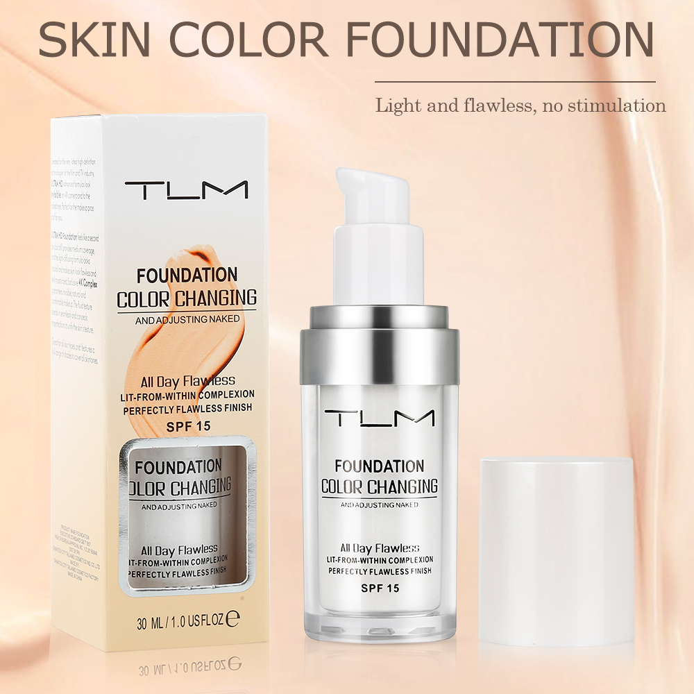 TLM 30ml Magic Color Changing Liquid Foundation Oil-control Face Cover Concealer Long Lasting Makeup Skin Tone Foundation TSLM1