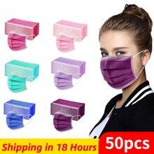 Masque facial jetable pour adultes, lot de 10, 50 ou 100 pièces, 3 plis, boucles auriculaires, lavable, jetable