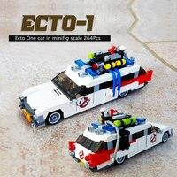 MOC cegły zabawki Ecto-1 film samochodowe klocki budowlane Diy zabawki cegły prezenty bożonarodzeniowe zabawki dla dzieci Ecto uniwersalny samochodowy w skali minifig
