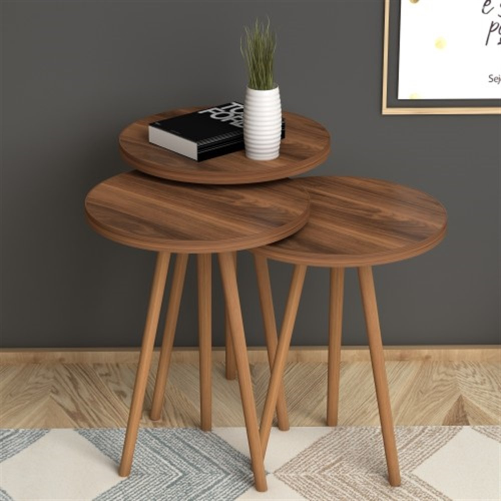 MADE IN TURKEY 3 Pieces Coffee Tables Mini Modern Brown Practical Durable Tea Tables Living Room Zigon Wood Home Accessories