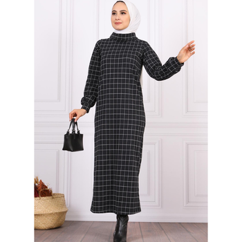 Turtleneck Patterned Hijab Dress European Clothing Turkish Clothes For Women Autumn Garment Hijab Eid Moroccan Tagine 3abaya image