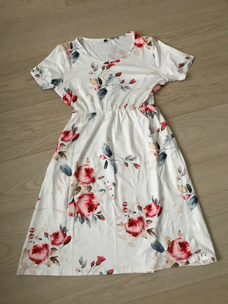 Floral Printed Mom and Kid Matching Dress photo review