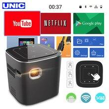 Unic d019 mini projetor suporte hd completo 1920x1080 p dlp portátil android 7.1.2 os wifi bluetooth led bateria casa beamer