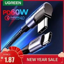 Ugreen usb tipo c para usb c cabo para samsung s9 s8 mais pd 60w rápido carregador 4.0 USB-C cabo para macbook pro cabo de ar usb