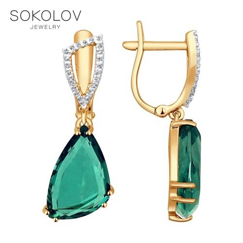 Long Drop Earrings With Stones With Stones With Stones With Stones With Stones With Stones With Stones With Stones With Stones With Stones With Stones SOKOLOV Gold Quartz And Cubic Zirconia Fashion Jewelry Gold 585 Women's Male