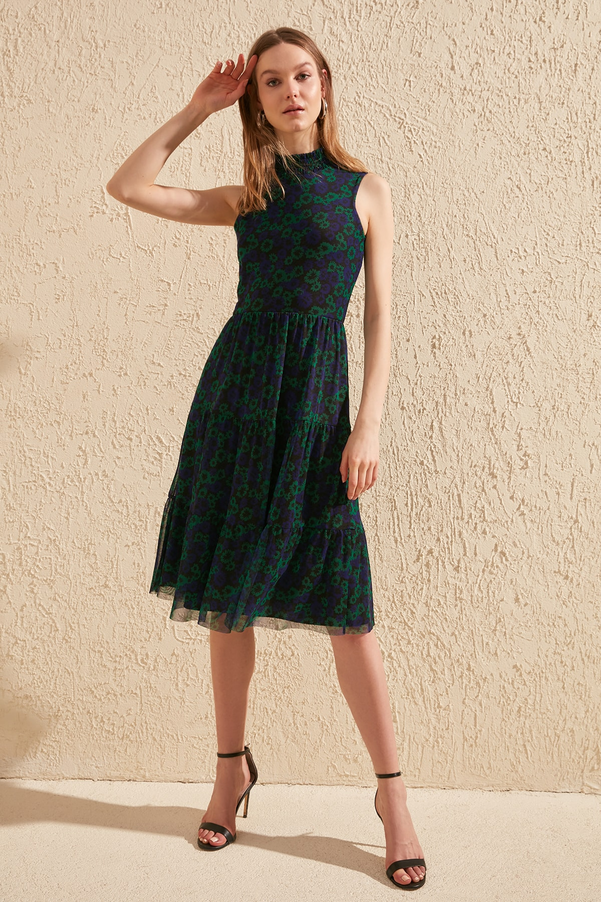 Trendyol Patterned Gipeli Upright Collar Knitted Dress TWOSS20EL0709