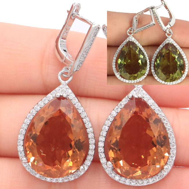 43x19mm Special Big Heavy 17.1g White Drop 20x15mm Created Color Changing Spinel Zultanite CZ Woman's Silver Earrings