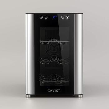 CAVIST Refrigerador de vinos C6, 37.8 cm, 6 botellas Refrigerador, 3 estantes de metal