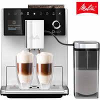Cafetera automática Melitta CI Touch F630-101,con molinillo integrado y silencioso, pantalla táctil, sistema de leche, plata