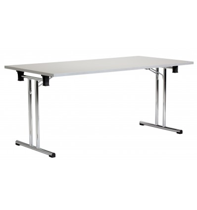 FOLDING TABLE WITH CHROME LEGS AND GRAY BOARD 160X80X72CM