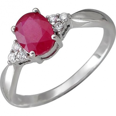 Esthete Ring With Ruby And Cubic Zirconia