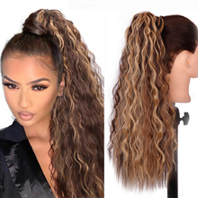Hairpiece-Wrap Hair-Extensions Blonde-Hair Long-Ponytail Curly Synthetic Clip Brown WERD