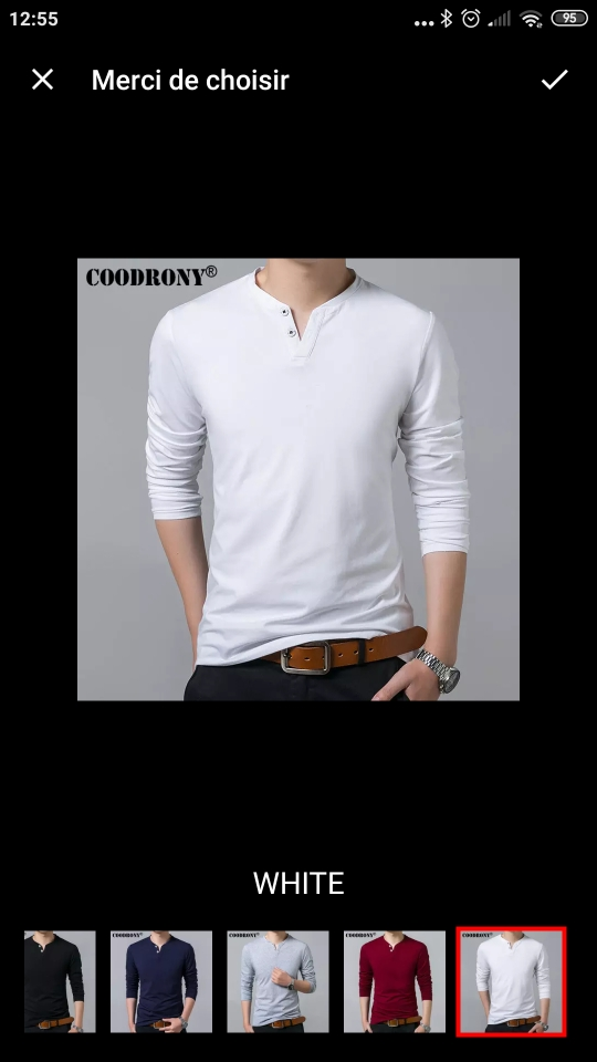 T-Shirt manches longues 2 boutons COODRONY pur Coton