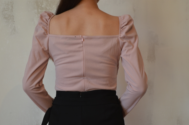 Elegant Blouses Women Zip Back Puff Sleeve Form Fitted Wrap Sweetheart Top Female Long Sleeve Blouse Shirt photo review
