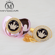 MIYOCAR Gold crown lovely beautiful bling pacifier and clip BPA free dummy unique design GCR-08/9